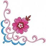 pembe çiçekli kasnak işi örneği 1