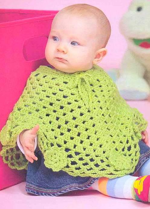 Çok şık yeşil bebek panço örneği