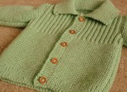 Şiş örgü yeşil bebek hırka örnekleri