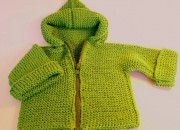Fermuarlı yeşil bebek hırka modelleri