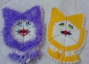 sarı ve mor kedi motifli lif örnekleri
