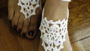 Örgü Bayan Sandalet Modelleri