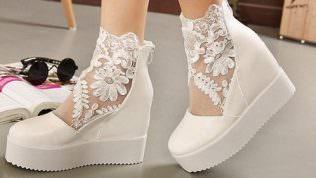 Dolgu Topuklu Gelin Ayakkabısı