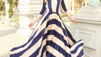 Çizgili Elbise Modelleri Modası