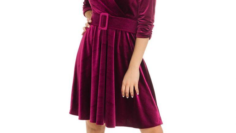 Kadife Elbise Modelleri Kısa